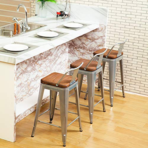 Changjie Furniture 26 Inch Swivel Metal Bar Stool Stack-able for Indoor-Outdoor Kitchen Counter Barstools Low Back Set of 4 (26 inch, Swivel Low Back Silver Wooden)