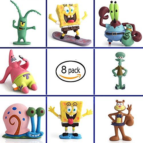 Aquarium SpongeBob Ornaments Fish Tank SpongeBob Decorations - 8 Pack Safe And Non-Toxic Durable Plastic of SpongeBob Small Aquarium Accessories
