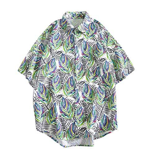 Men's Hawaii Shirts Casual Short Sleeve Beach Shirts 3D Leaf Print Lightweight Shirt with Pocket White