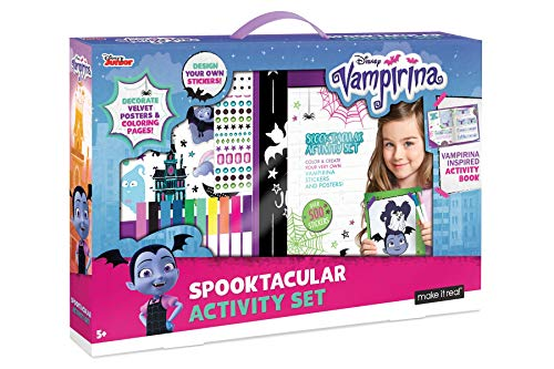 Make It Real  Disney Vampirina Spooktacular Activity Set. Coloring Book and Sticker Craft Book Set for Girls. Includes Velvet Posters, Markers, and Fun Stickers Inspired by Disneys Vampirina.