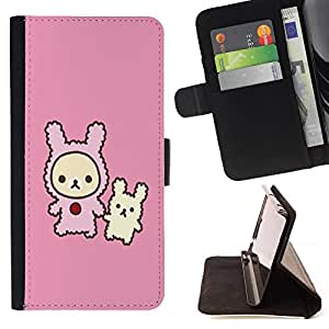 BullDog Case - FOR/HTC Desire 820 / - / Cute Rabbit Friends /- Monedero de cuero de la PU Llevar cubierta de la caja con el ID Credit Card Slots Flip funda de cuer