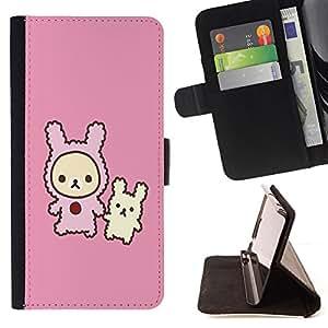 BullDog Case - FOR/HTC DESIRE 816 / - / Cute Rabbit Friends /- Monedero de cuero de la PU Llevar cubierta de la caja con el ID Credit Card Slots Flip funda de cuer