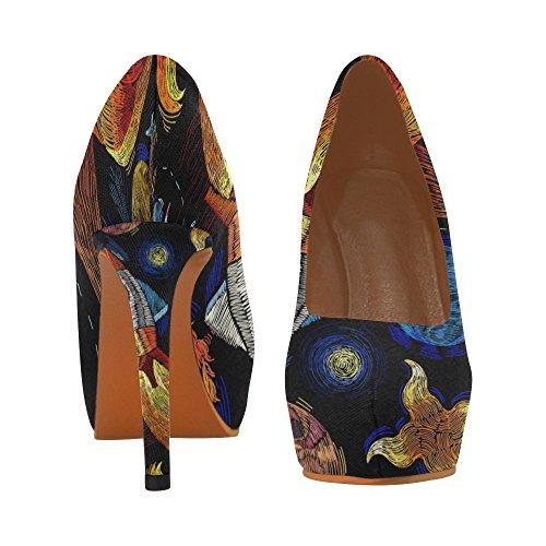 Crâne Dimpression Dintérêt Avec Chapeau Chaussures Sexy Haut Talons Pompe Chaussures Planète
