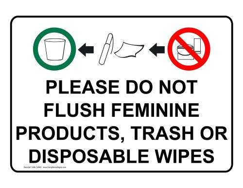 ComplianceSigns Plastic Restroom Etiquette Sign, 7 x 5 in. with English Text, White