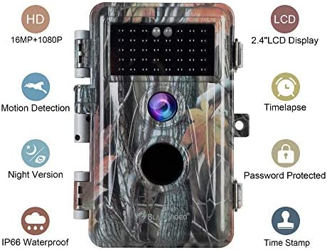 2019 Upgraded 2-Pack Night Vision Game Trail Cameras 16MP 1080P No Glow Hunters Deer Hunting Cams IP66 Waterproof Password Protected Motion Activated Photo Video Model, Time Stamp Time Lapse