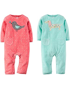 Baby Girls 2 Pack Soft Fleece Jumpsuits 3-24 months