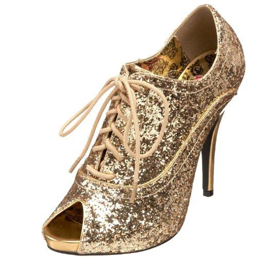 Pleaser Womens Wink-01 Oxford Pump Glitter Oro