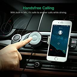 UGREEN Bluetooth 4.1 Car Kit Receiver, Wireless Audio Music Stereo Adapter Support Hands-Free Calling and Music Streaming Dongle with 3.5 mm Aux Cable, Built-in Mic, Air Vent Mount and Noise Reduction