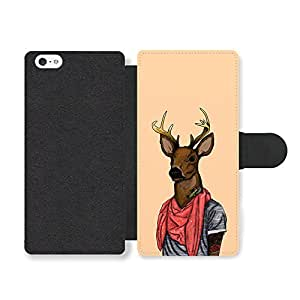 Funny Cute Deer Looking Cool in Scarf with Tattoos Funda Cuero Sintético para iPhone 5 5S