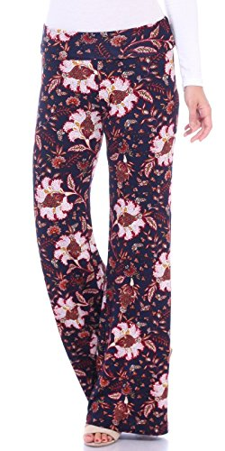 Popana Womens Comfy Chic Wide Leg Boho Print Palazzo Pants Plus Size Made in USA 2X ST101 Paisley