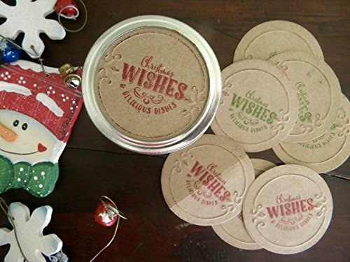 Mason Jar Lid Covers, Christmas Wishes, Jar Labels, Jar Stickers, Canning Jar Lid Inserts, Holiday Jar Food Gifts, Canning Jar Tags, Delicious Dishes ()