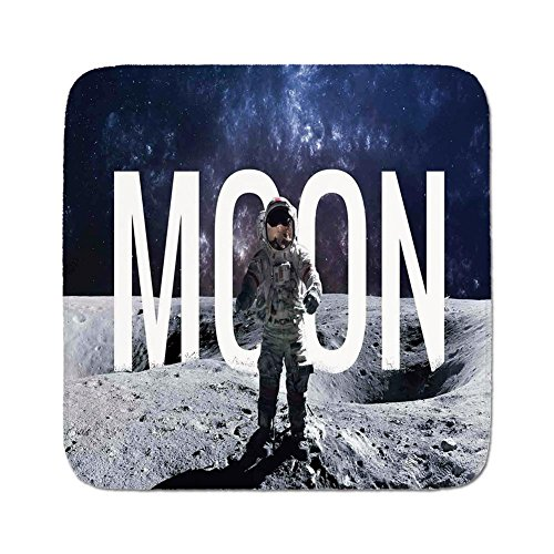Cozy Seat Protector Pads Cushion Area Rug,Outer Space Decor,Miniature Toy Astronaut on Foreground of Giant Moon Big Bang Mars Print,Grey Blue,Easy to Use on Any ()