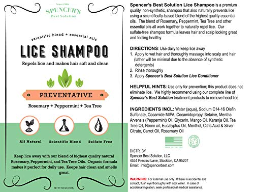 Shampoo - Natural DIY Home Lice Prevention - Safe for Kids Adults & Family  -Prevent Super Lice Louse Nits Eggs with Our Fast Easy Pro Prevention
