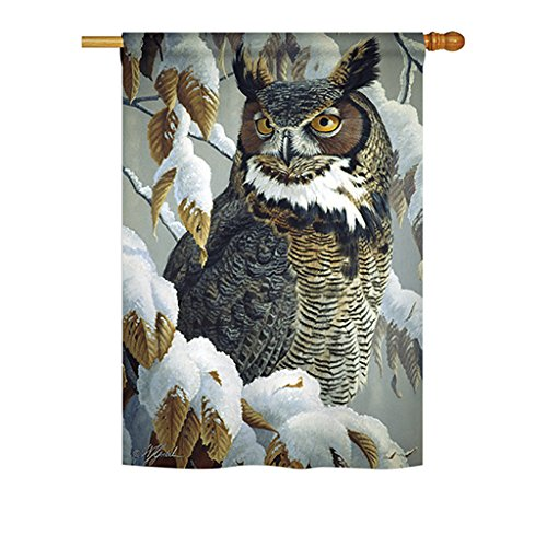 Breeze Decor - Great Horned Owl Garden Friends - Everyday Impressions Decorative Vertical House Flag 28