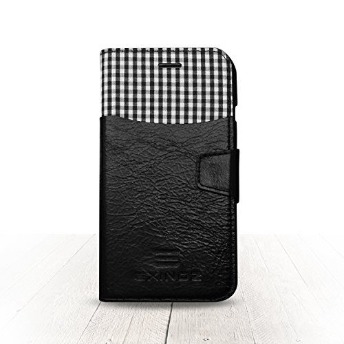 Exinoz Genuine Leather Wallet Case for Apple iPhone 6s Plus & 6 Plus   Precision Engineered for Custom Fit   Inner Slots for Credit Cards & Outer Compartment for Cash & More   [Black] by Exinoz by Exinoz