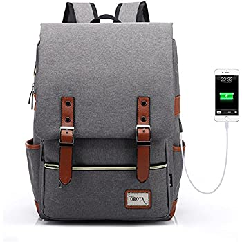 orota Vintage College Backpack School Bookbag Laptop Backpack with USB Charging -upgraded version