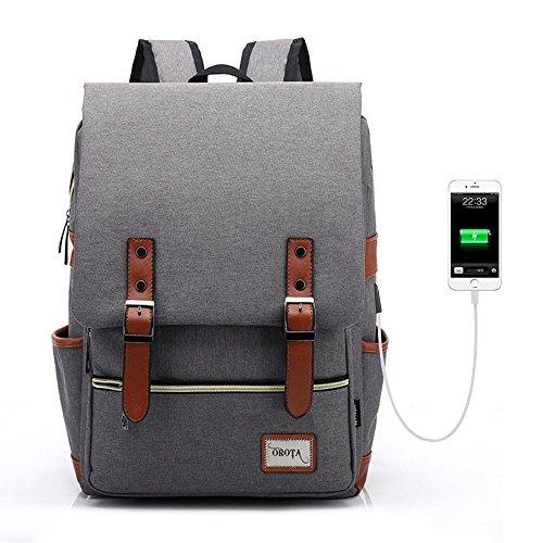 orota Vintage College Backpack School Bookbag Laptop Backpack with USB Charging -upgraded version