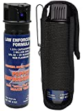 Pepper Enforcement 4 oz. Fogger Police Strength OC Pepper Spray and Tactical Metal Belt Clip Holster - Professional Grade Emergency Self Defense Non Lethal Weapon for Personal Protection