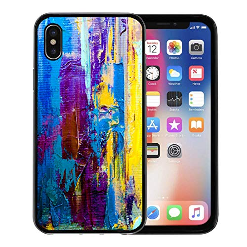 Contemporary Retro Palette - Semtomn Phone Case for iPhone Xs case,Abstract Oil Painting on Canvas Color Fragment of Spots Paint Brushstrokes Modern Contemporary Colorful for iPhone X Case,Rubber Border Protective Case,Black