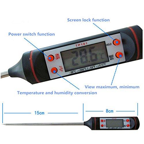 BulzEU Digital de cocci/ón de Alimentos Term/ómetro de la sonda LCD de Temperatura de Lectura instant/ánea Term/ómetros Detector de Cocina Hornear Carne Steak Grill Barbacoa Leche