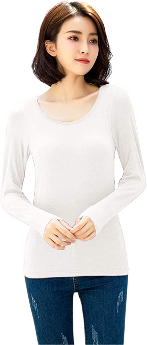 Rofala Womens Thermal Built-in Bra Padded Yoga Camisole Casual Long Sleeve T-Shirt