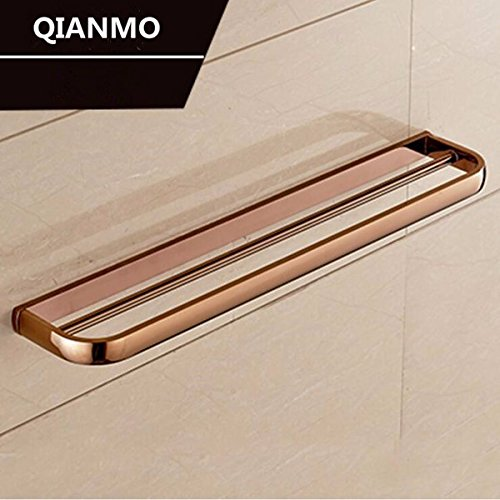LHbox Tap Antique-Brass Towel Rack Bathroom Towel bar Antique Bathroom Black 古 Antique Wall Mount Bracket, Rose Gold (United States), 2-Pole