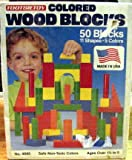 Colored Wood Blocks 50 Pieces 11 Shapes 5 Colors