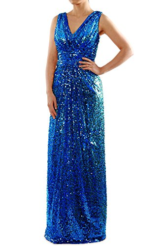 MACloth Sequin Bridesmaid Dress Straps V Neck Ruched Long Formal Evening Gown (22w, Royal Blue)