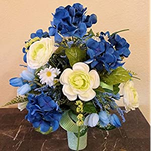 Blue Hydrangea Cemetery Arrangement, Cemetery Arrangement with Ranunculus, Flowers For Cemetery Vase 7