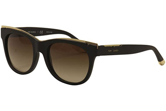 4a5e2c2970b2 Tory Burch Women's 0TY9043 Matte Black/Gold/Brown Gradient Sunglasses