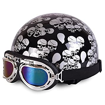 Amazon.es: Rainbow_Road Casco de motocicleta abierto casco Halley casco Crash para moto scooter bicicleta con visera + gafas + bufanda (54 - 59 cm) calavera ...