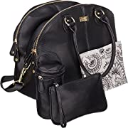 Isoki Madame Polly Baby Diaper Bag | Large Black Pack for your Boy and Girl | Organizer Bags for Travel | Gift Set includes Changing Mat, Purse and Bottle Tote