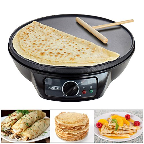 Voche 1000W Electric Pancake & Crepe Maker with 12' Non Stick Hot Plate and...