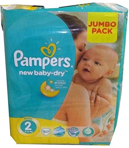 80 Pampers Windeln New Baby Gr. 2, 3-6 Kg, Baumwolle weich und mit ANATOMISCHER PASSFORM