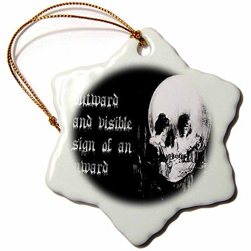3dRose All Is Vanity Ghost, Halloween, Optical Illusion, Paranormal, Seasonal, Silhouette, Skeleton Snowflake Ornament, 3'' by 3dRose