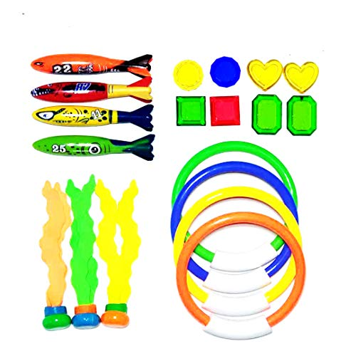 (Diving Toy 19PCS Pool Accessories Set 4 Dive Ring,4 Throw Torpedo Bandit,3 Stringy Octopu,8 Jewel Gem for Pool Sinking Swim Game Underwater Training Play Water Toypedo for Kid Child Boy Girl)