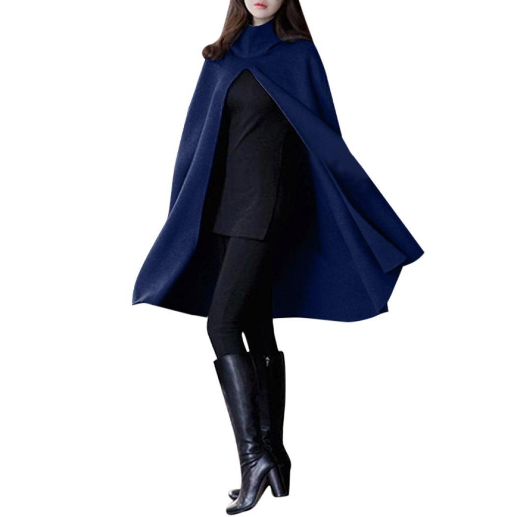 Women'S Hooded Coat, women Long Loose Cloak Jacket Shawl Outwear Parka Pullover (2XL, Navy)