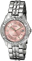 GUESS Women's Stainless Steel Crystal Accented Pink Dial Watch, Color: Silver-Tone (Model: G75791M)