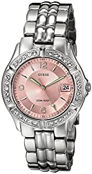 Guess Women's Stainless Steel Crystal Accented Pink Dial Watch, Color Silver-tone (Model: G75791m)