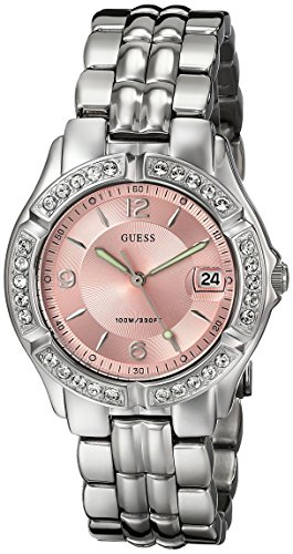 GUESS-Womens-G75791M-Sporty-Silver-Tone-Watch-with-Pink-Dial-Crystal-Accented-Bezel-and-Stainless-Steel-Deployment-Buckle
