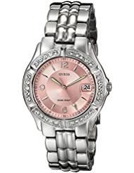 GUESS Womens Stainless Steel Crystal Accented Pink Dial Watch, Color: Silver-Tone (Model: G75791M)