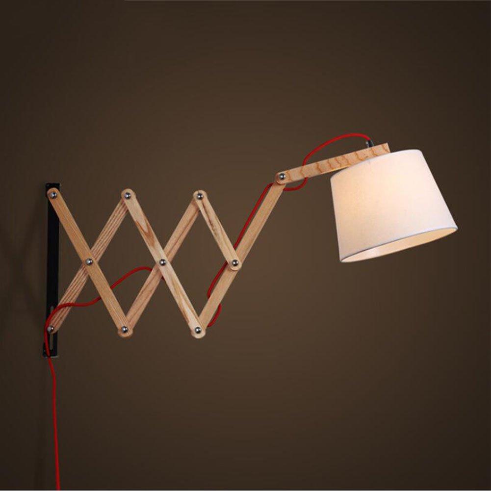 ウォールランプモダンLEDウォールライト伸縮式ウォールライト木製ランプボディー220v E27寝室、リビングルーム、バーカウンター、装飾的な壁ランプ商業ウォールランプ (色 : A) B07DML84HF 14370  A