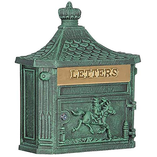 - MISC Locked Green Cast Aluminum Mailbox Wall Mounted Hanging Vertical Vintage Victorian Strong, Horse Themed