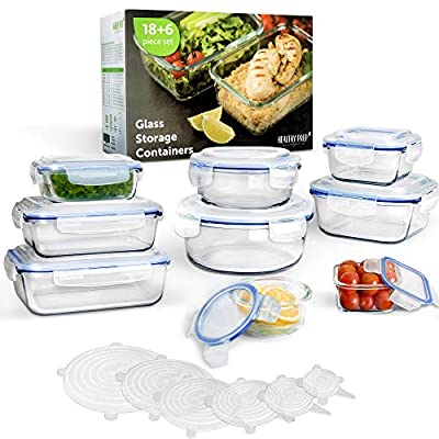 [24 Piece Set] 18 Pieces Glass Food Storage Containers with Snap Locking Lids + 6 Silicone Stretch Lids, BPA Free & FDA Approved, Leak-proof & Airtight – for Dishwasher Freezer Oven Microwave