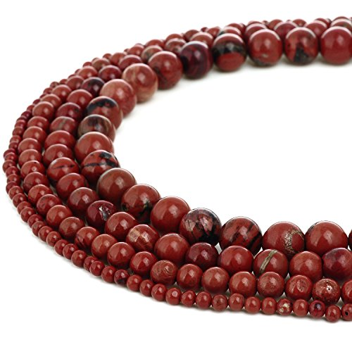 RUBYCA Wholesale Natural Red Jasper Gemstone Round Loose Beads for Jewelry Making 1 Strand - ()