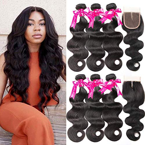 Beauty Princess Body Wave Human Hair 3 Bundles with Closure Double Weft 8A Brazilian Hair Bundles With Closure (24 26 28+20Inch) ()