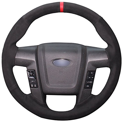 Loncky Black Suede Steering Wheel Cover for Ford F-150 F150 SVT Raptor 2010 2011 2012 2013 2014 (Suede Steering Wheel Cover Black)