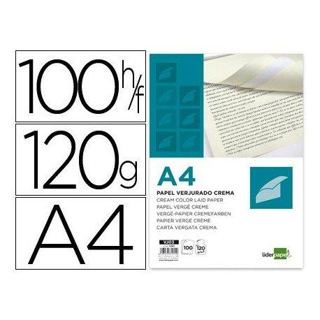 Confezione da 100 fogli di carta vergata, color crema, Din A4 120 g Din A4120g LIDERPAPEL VJ03