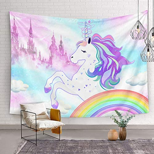 Bonsai Tree Unicorn Tapestry, Rainbow Unicorn Girls Queen Tapestry Wall Hanging, Cute Magic Castle Pink Purple Wall Tapestries for Bedroom College Home Decorations, 68.9 x92