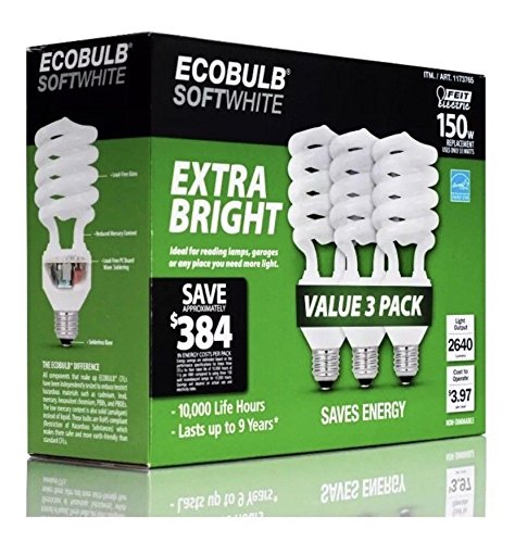 3-Pack Feit ECOBULB SOFTWHITE, 33W Equivalent to 150W 2640 Lumens Light - Central Galleria